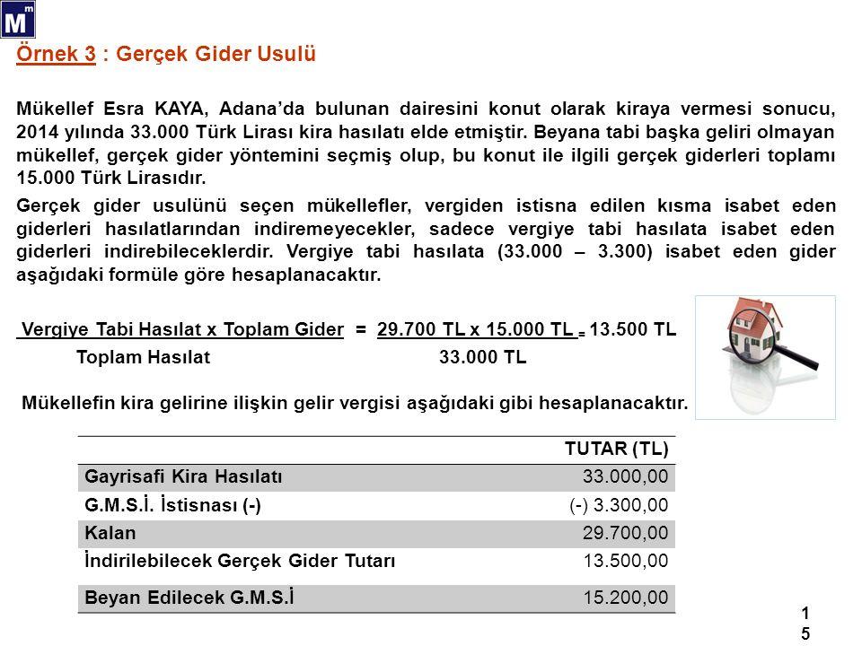 15 Örnek 3 : Gerçek Gider Usulü Mükellef Esra KAYA, Adana'da bulunan dairesini konut olarak kiraya vermesi sonucu, 2014 yılında 33.000 Türk Lirası kira hasılatı elde etmiştir.