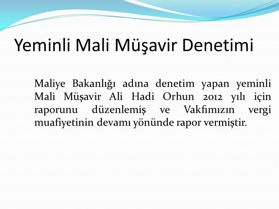 Yeminli Mali Müşavir Denetimi Maliye Bakanlığı adına denetim yapan yeminli Mali Müşavir Ali Hadi Orhun 2012 yılı için raporunu düzenlemiş ve Vakfımızın vergi muafiyetinin devamı yönünde rapor vermiştir.