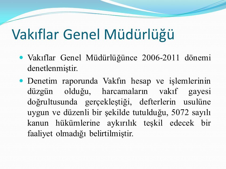 Vakıflar Genel Müdürlüğü Vakıflar Genel Müdürlüğünce 2006-2011 dönemi denetlenmiştir.