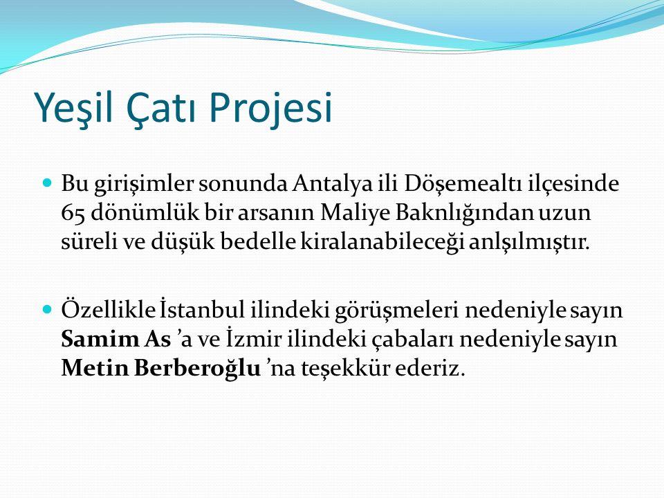 Yeşil Çatı Projesi Bu girişimler sonunda Antalya ili Döşemealtı ilçesinde 65 dönümlük bir arsanın Maliye Baknlığından uzun süreli ve düşük bedelle kiralanabileceği anlşılmıştır.