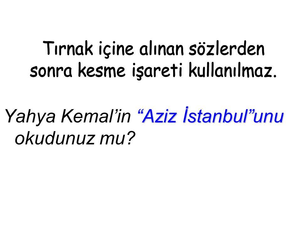 Aziz İstanbul unu Yahya Kemal'in Aziz İstanbul unu okudunuz mu