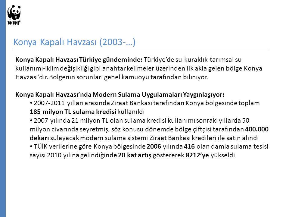 Konya Kapalı Havzası (2003-…) Konya Kapalı Havzası Türkiye gündeminde: Türkiye'de su-kuraklık-tarımsal su kullanımı-iklim değişikliği gibi anahtar kelimeler üzerinden ilk akla gelen bölge Konya Havzası'dır.