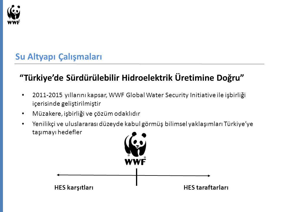 Su Altyapı Çalışmaları Türkiye'de Sürdürülebilir Hidroelektrik Üretimine Doğru 2011-2015 yıllarını kapsar, WWF Global Water Security Initiative ile işbirliği içerisinde geliştirilmiştir Müzakere, işbirliği ve çözüm odaklıdır Yenilikçi ve uluslararası düzeyde kabul görmüş bilimsel yaklaşımları Türkiye'ye taşımayı hedefler HES karşıtlarıHES taraftarları