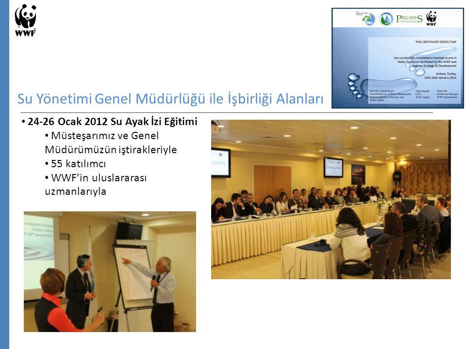 Su Yönetimi Genel Müdürlüğü ile İşbirliği Alanları 24-26 Ocak 2012 Su Ayak İzi Eğitimi Müsteşarımız ve Genel Müdürümüzün iştirakleriyle 55 katılımcı WWF'in uluslararası uzmanlarıyla