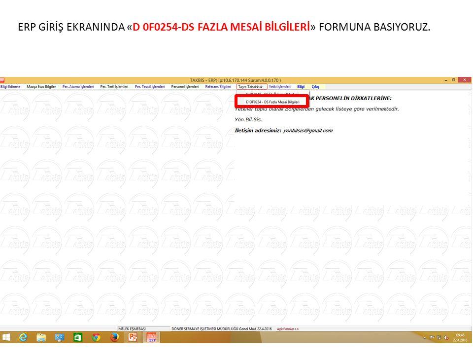 D 0F0254-DS FAZLA MESAİ BİLGİLERİ FORMU GİRİŞ EKRANI