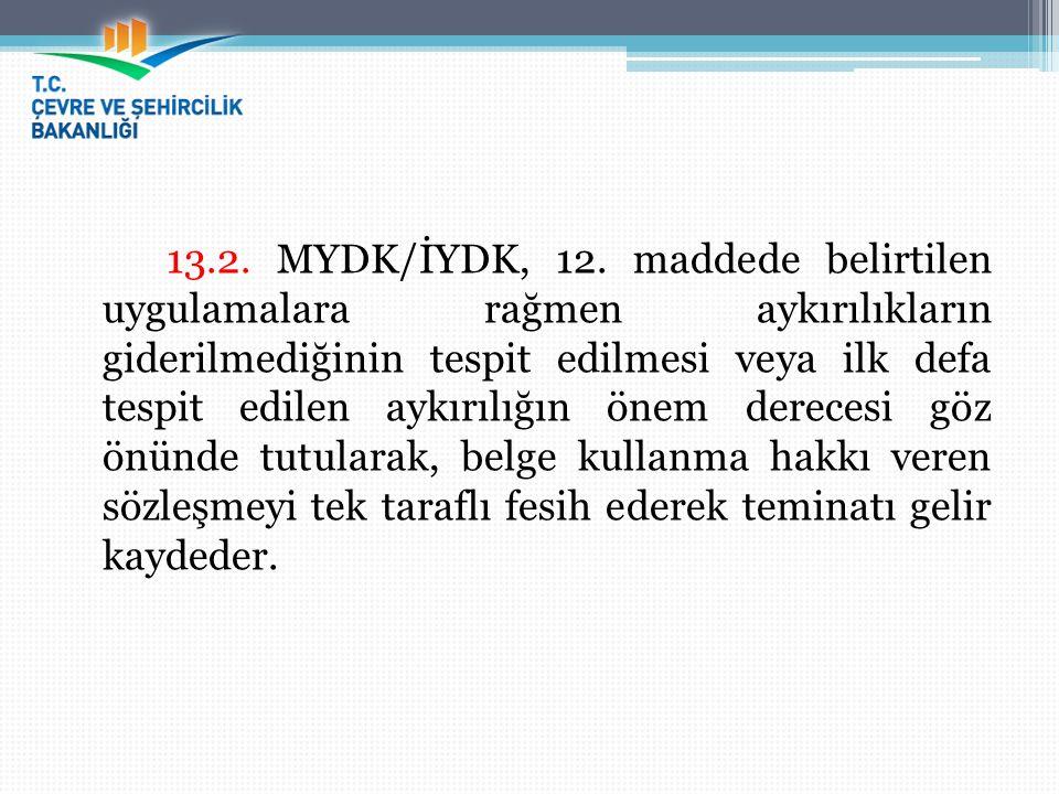 13.2. MYDK/İYDK, 12. maddede belirtilen uygulamalara rağmen aykırılıkların giderilmediğinin tespit edilmesi veya ilk defa tespit edilen aykırılığın ön