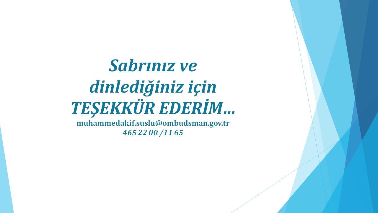 Sabrınız ve dinlediğiniz için TEŞEKKÜR EDERİM… muhammedakif.suslu@ombudsman.gov.tr 465 22 00 /11 65