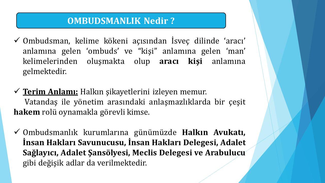 """OMBUDSMANLIK Nedir ? Ombudsman, kelime kökeni açısından İsveç dilinde 'aracı' anlamına gelen 'ombuds' ve """"kişi"""" anlamına gelen 'man' kelimelerinden ol"""