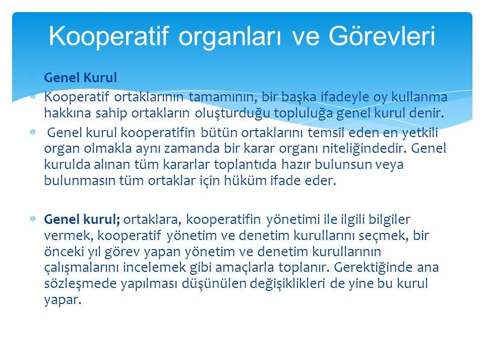  Genel Kurul  Kooperatif ortaklarının tamamının, bir başka ifadeyle oy kullanma hakkına sahip ortakların oluşturduğu topluluğa genel kurul denir.