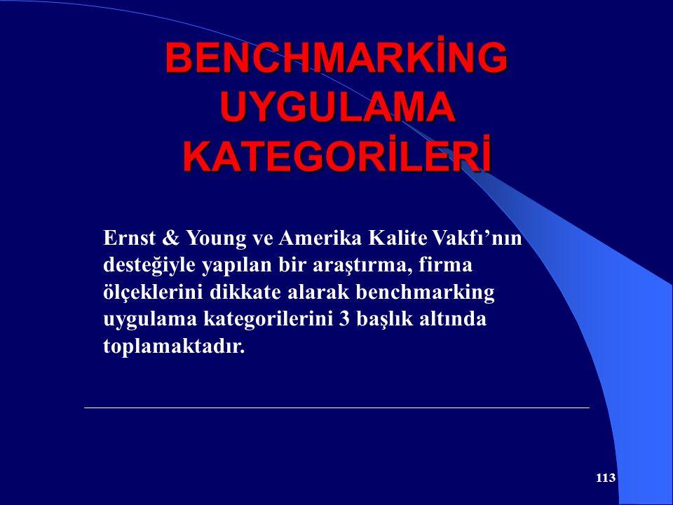 BENCHMARKİNG UYGULAMA KATEGORİLERİ 113 Ernst & Young ve Amerika Kalite Vakfı'nın desteğiyle yapılan bir araştırma, firma ölçeklerini dikkate alarak be