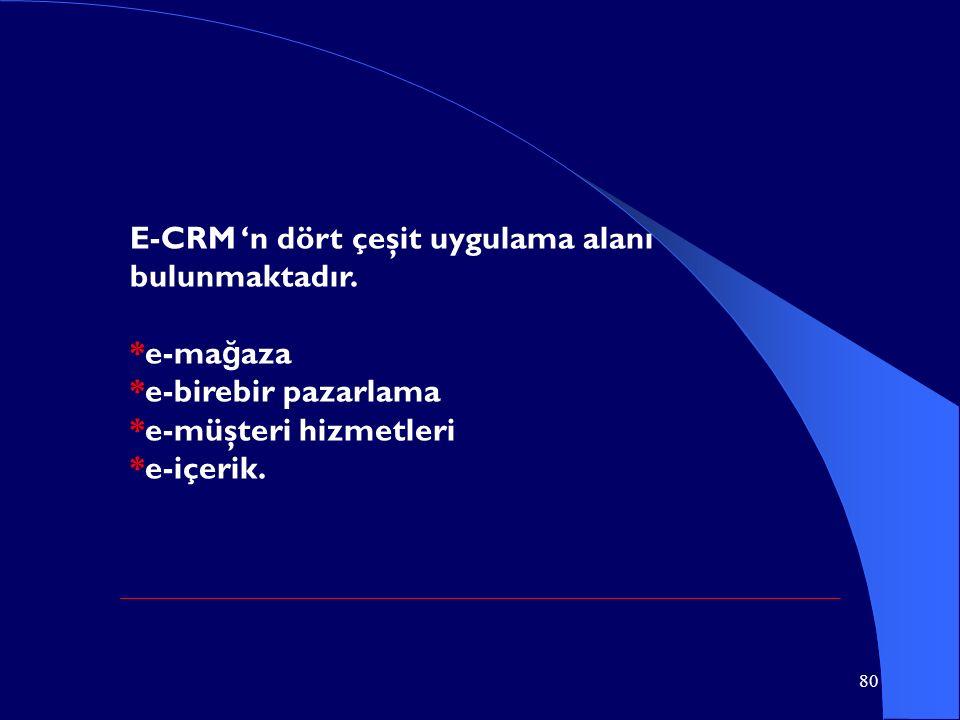 80 E-CRM 'n dört çeşit uygulama alanı bulunmaktadır. *e-ma ğ aza *e-birebir pazarlama *e-müşteri hizmetleri *e-içerik.