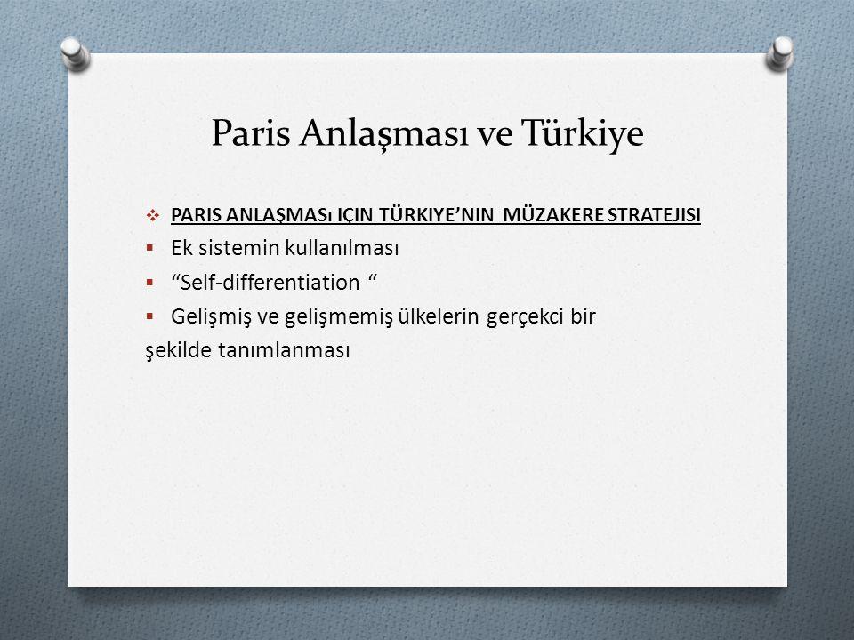 Paris Anlaşması ve Türkiye  PARIS ANLAŞMASı IÇIN TÜRKIYE'NIN MÜZAKERE STRATEJISI  Ek sistemin kullanılması  Self-differentiation  Gelişmiş ve gelişmemiş ülkelerin gerçekci bir şekilde tanımlanması