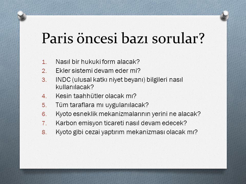 Paris öncesi bazı sorular.1. NASIL BIR HUKUKI ŞEKİL ALACAK.