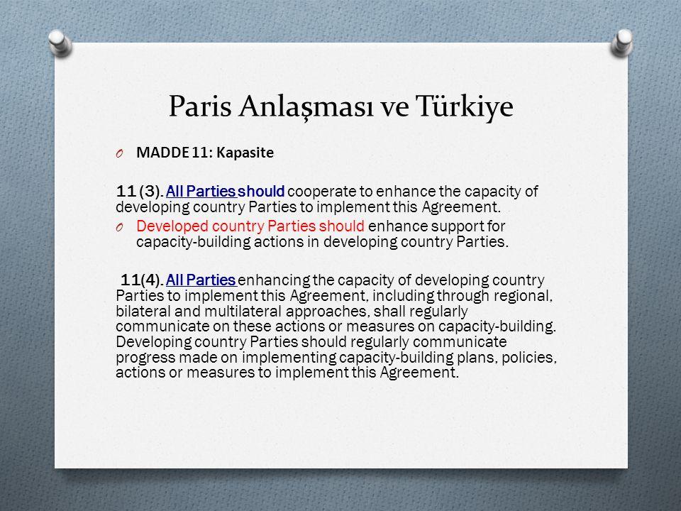 Paris Anlaşması ve Türkiye O MADDE 11: Kapasite 11 (3).