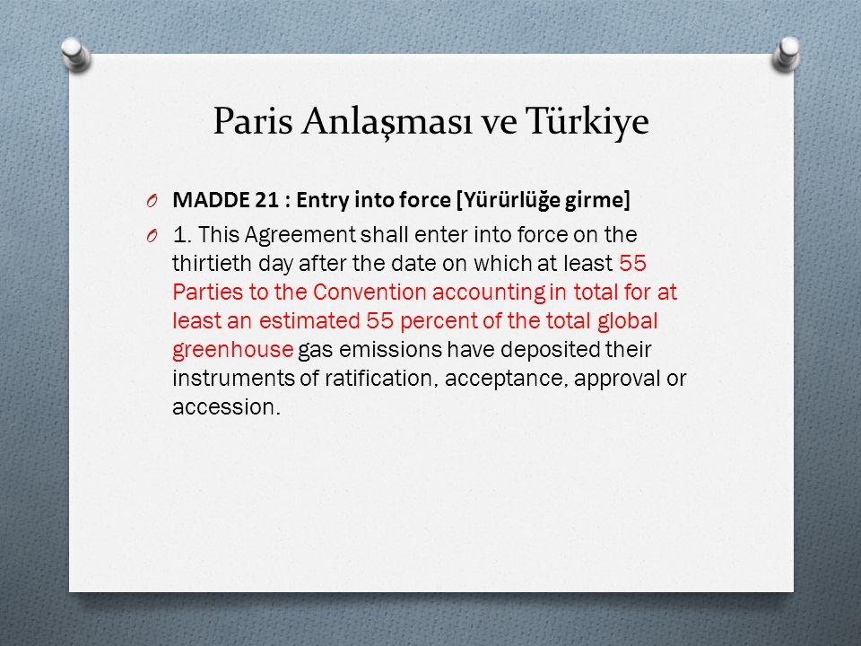 Paris Anlaşması ve Türkiye O MADDE 21 : Entry into force [Yürürlüğe girme] O 1.