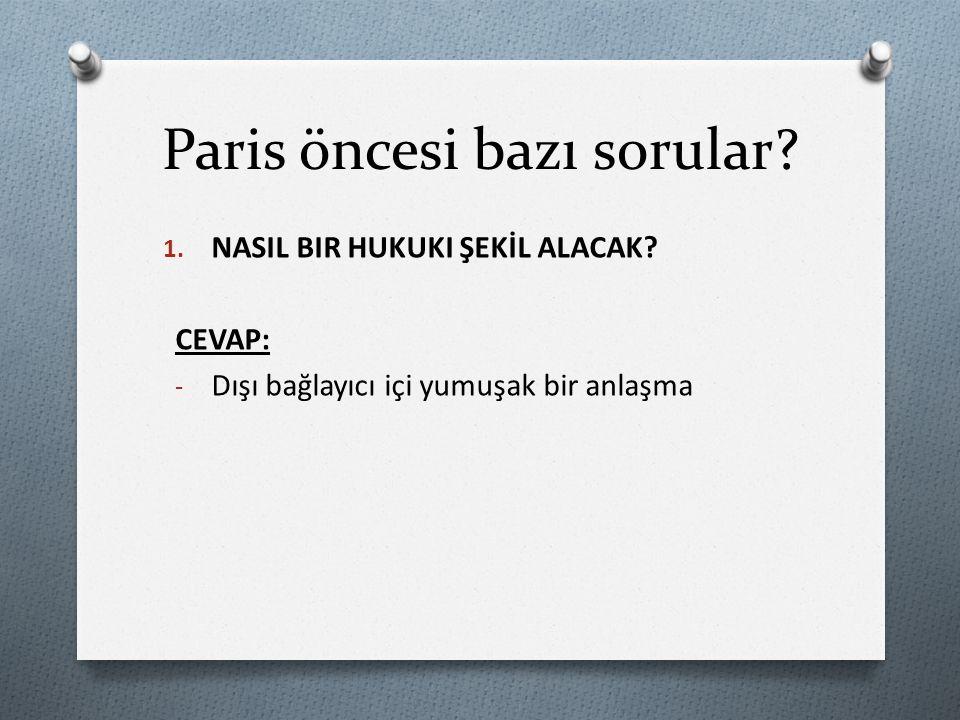 Paris öncesi bazı sorular. 1. NASIL BIR HUKUKI ŞEKİL ALACAK.