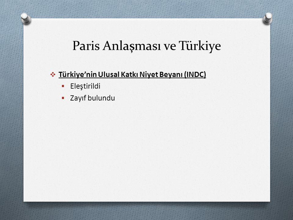 Paris Anlaşması ve Türkiye  Türkiye'nin Ulusal Katkı Niyet Beyanı (INDC)  Eleştirildi  Zayıf bulundu