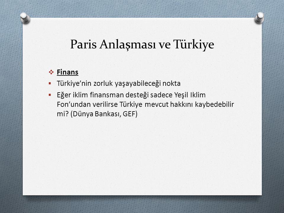 Paris Anlaşması ve Türkiye  Finans  Türkiye'nin zorluk yaşayabileceği nokta  Eğer iklim finansman desteği sadece Yeşil Iklim Fon'undan verilirse Türkiye mevcut hakkını kaybedebilir mi.