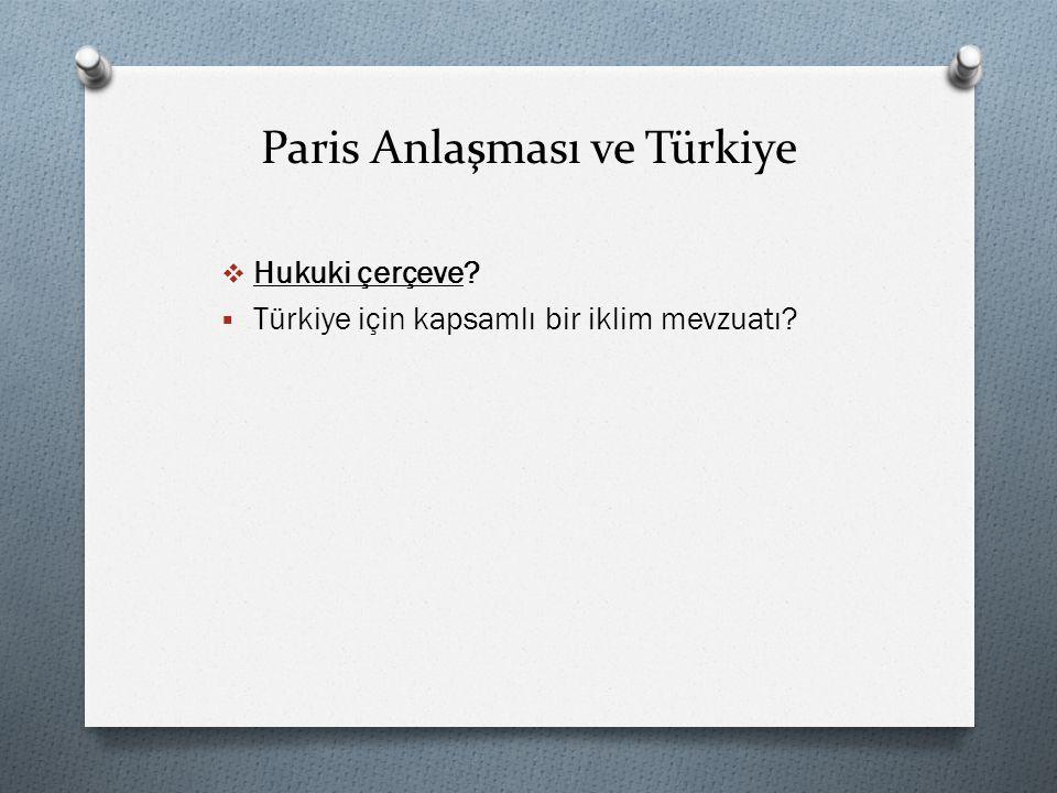 Paris Anlaşması ve Türkiye  Hukuki çerçeve?  Türkiye için kapsamlı bir iklim mevzuatı?