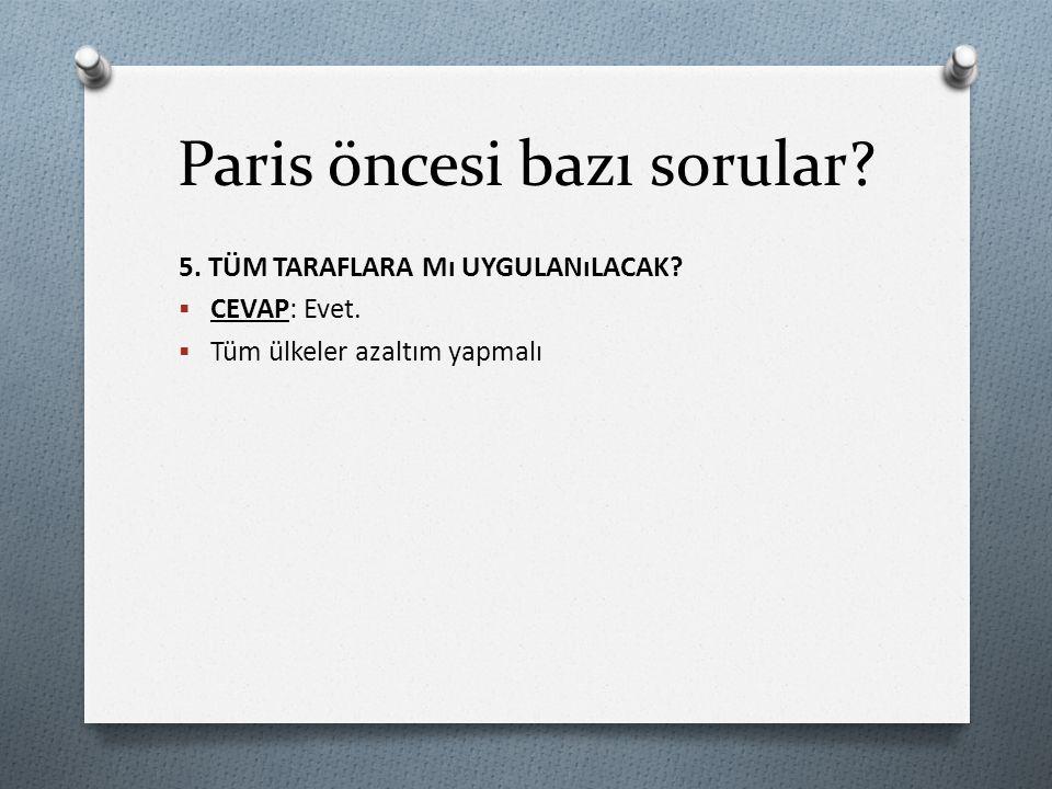Paris öncesi bazı sorular.6. KYOTO ESNEKLİK MEKANIZMALARININ YERINİ NE ALACAK.