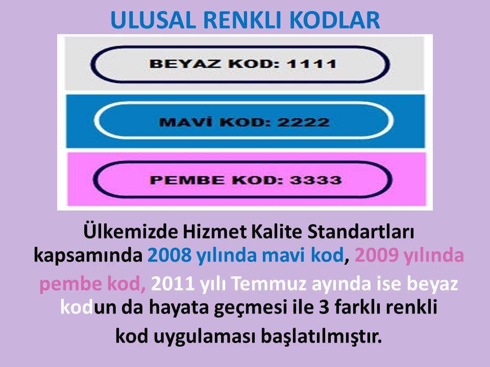 ULUSAL RENKLI KODLAR Ülkemizde Hizmet Kalite Standartları kapsamında 2008 yılında mavi kod, 2009 yılında pembe kod, 2011 yılı Temmuz ayında ise beyaz kodun da hayata geçmesi ile 3 farklı renkli kod uygulaması başlatılmıştır.