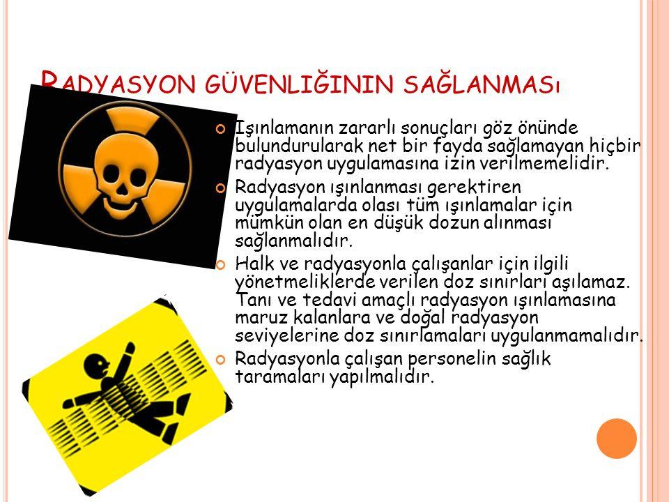 R ADYASYON GÜVENLIĞININ SAĞLANMASı Işınlamanın zararlı sonuçları göz önünde bulundurularak net bir fayda sağlamayan hiçbir radyasyon uygulamasına izin verilmemelidir.