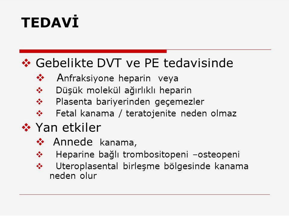 TEDAVİ  Gebelikte DVT ve PE tedavisinde  A nfraksiyone heparin veya  Düşük molekül ağırlıklı heparin  Plasenta bariyerinden geçemezler  Fetal kan