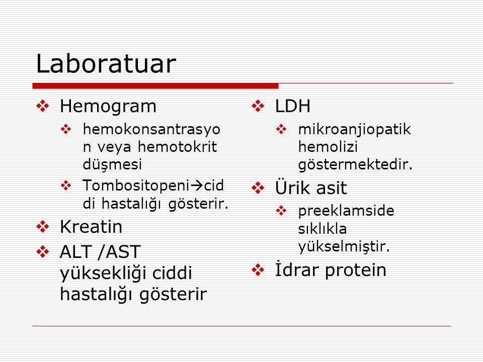 Laboratuar  Hemogram  hemokonsantrasyo n veya hemotokrit düşmesi  Tombositopeni  cid di hastalığı gösterir.  Kreatin  ALT /AST yüksekliği ciddi