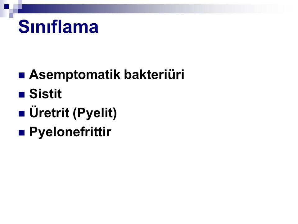 Sınıflama Asemptomatik bakteriüri Sistit Üretrit (Pyelit) Pyelonefrittir