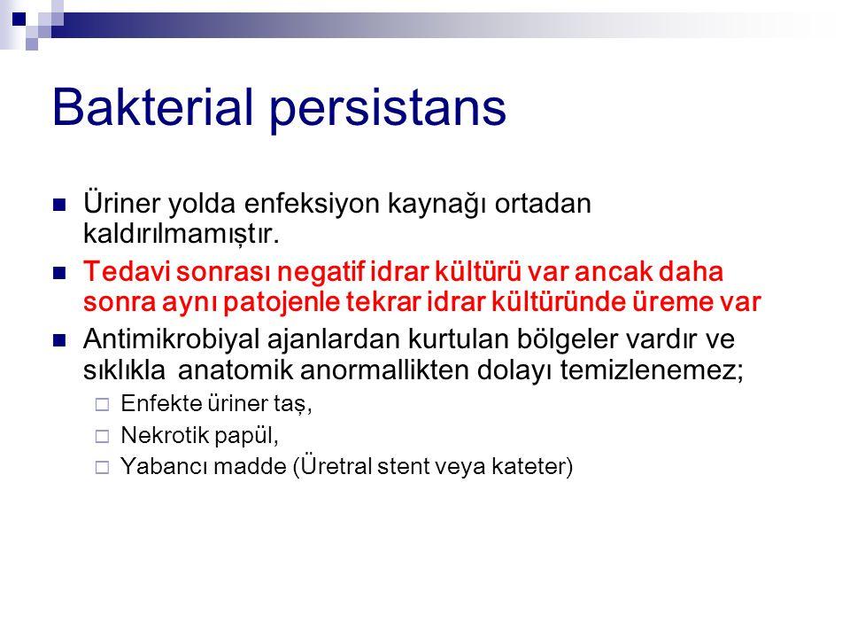 Bakterial persistans Üriner yolda enfeksiyon kaynağı ortadan kaldırılmamıştır.