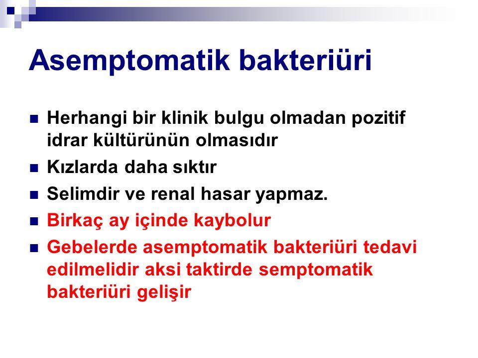 Asemptomatik bakteriüri Herhangi bir klinik bulgu olmadan pozitif idrar kültürünün olmasıdır Kızlarda daha sıktır Selimdir ve renal hasar yapmaz. Birk