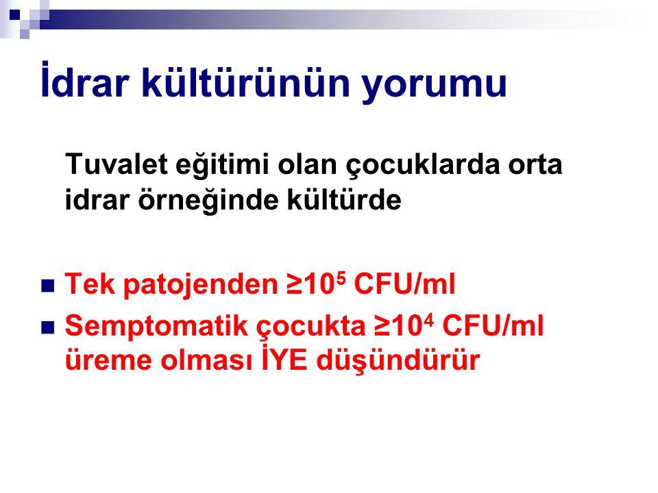 İdrar kültürünün yorumu Tuvalet eğitimi olan çocuklarda orta idrar örneğinde kültürde Tek patojenden ≥10 5 CFU/ml Semptomatik çocukta ≥10 4 CFU/ml üreme olması İYE düşündürür
