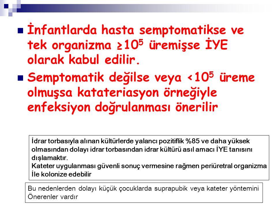 İnfantlarda hasta semptomatikse ve tek organizma ≥10 5 üremişse İYE olarak kabul edilir. Semptomatik değilse veya <10 5 üreme olmuşsa katateriasyon ör