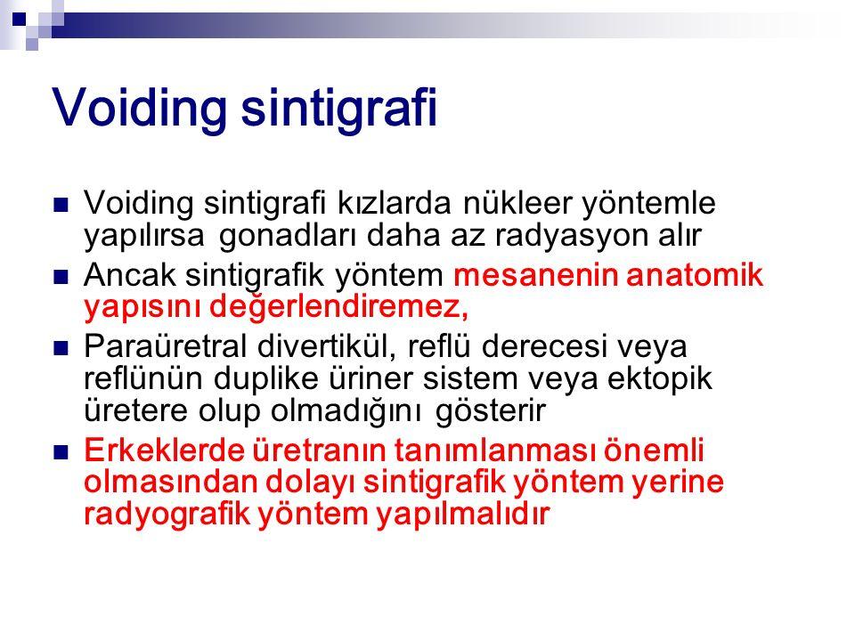 Voiding sintigrafi Voiding sintigrafi kızlarda nükleer yöntemle yapılırsa gonadları daha az radyasyon alır Ancak sintigrafik yöntem mesanenin anatomik