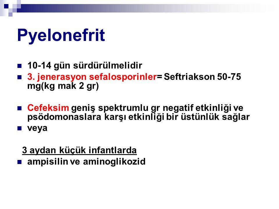 Pyelonefrit 10-14 gün sürdürülmelidir 3. jenerasyon sefalosporinler= Seftriakson 50-75 mg(kg mak 2 gr) Cefeksim geniş spektrumlu gr negatif etkinliği