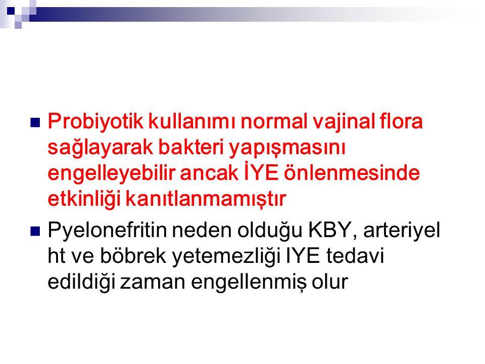 Probiyotik kullanımı normal vajinal flora sağlayarak bakteri yapışmasını engelleyebilir ancak İYE önlenmesinde etkinliği kanıtlanmamıştır Pyelonefritin neden olduğu KBY, arteriyel ht ve böbrek yetemezliği IYE tedavi edildiği zaman engellenmiş olur