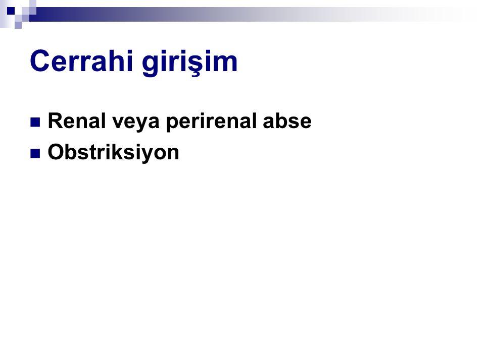 Cerrahi girişim Renal veya perirenal abse Obstriksiyon