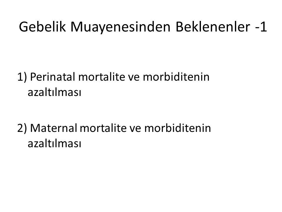 Gebelik Muayenesinden Beklenenler -2 1) Mevcut durumun/risklerin ortaya konulması 2) Gebeliğin sağlıklı olarak devam ettirilmesi 3) En uygun doğum şeklinin planlanması ve gerçekleştirilmesi 4) Termde sağlıklı bebeğin en uygun şekilde doğurtulması 5) Sonlandırılacak gebeliklerin erkenden tanınıp sonlandırılması