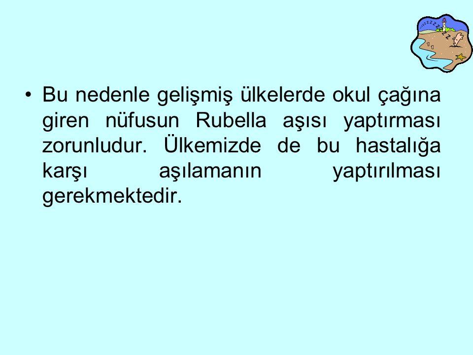 Bu nedenle gelişmiş ülkelerde okul çağına giren nüfusun Rubella aşısı yaptırması zorunludur.