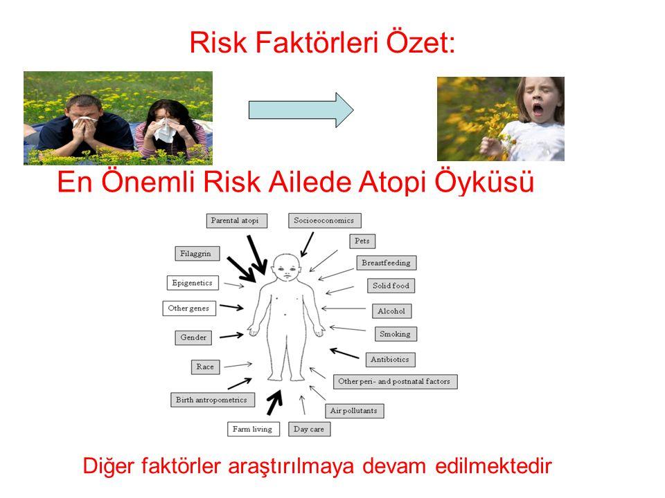 Risk Faktörleri Özet: En Önemli Risk Ailede Atopi Öyküsü Diğer faktörler araştırılmaya devam edilmektedir