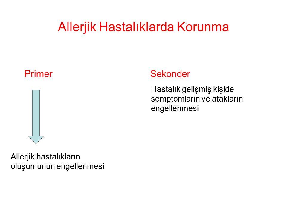 Allerjik Hastalıklarda Korunma Primer Allerjik hastalıkların oluşumunun engellenmesi Sekonder Hastalık gelişmiş kişide semptomların ve atakların engellenmesi