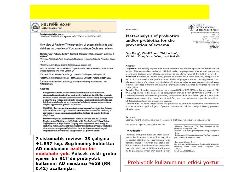 Prebiyotik ve AD: Meta- analizler Prebiyotik kullanımının etkisi yoktur.