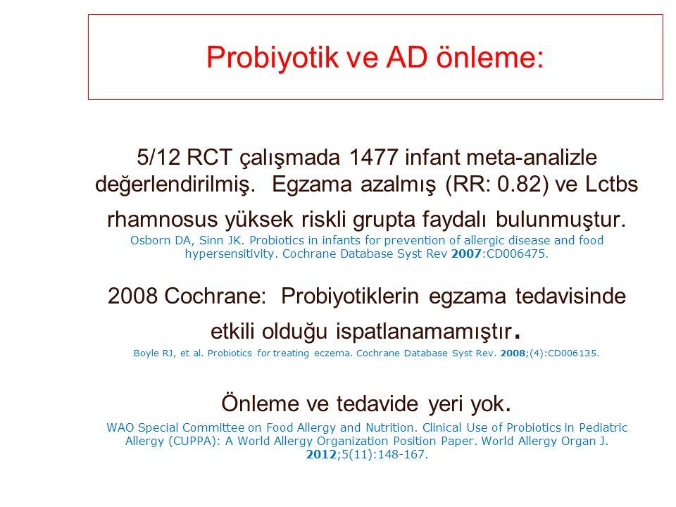 Probiyotik ve AD önleme: 5/12 RCT çalışmada 1477 infant meta-analizle değerlendirilmiş.