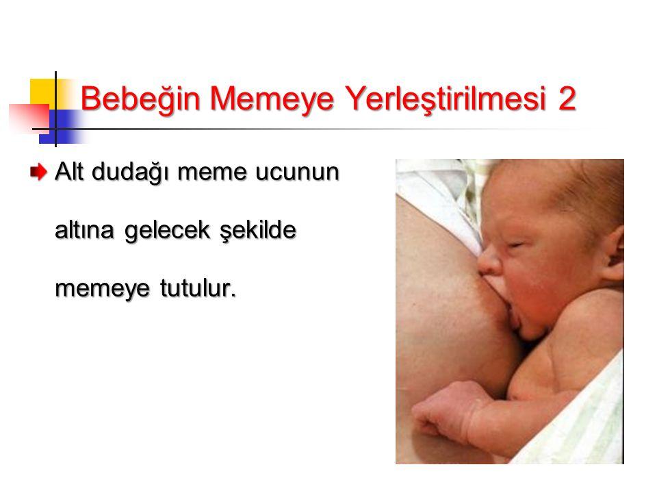 Bebeğin Memeye Yerleştirilmesi 2 Alt dudağı meme ucunun altına gelecek şekilde memeye tutulur.