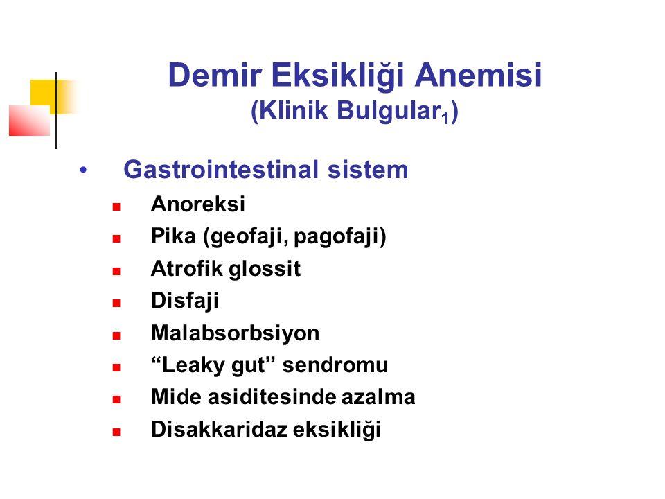 Demir Eksikliği Anemisi (Klinik Bulgular 1 ) Gastrointestinal sistem Anoreksi Pika (geofaji, pagofaji) Atrofik glossit Disfaji Malabsorbsiyon Leaky gut sendromu Mide asiditesinde azalma Disakkaridaz eksikliği