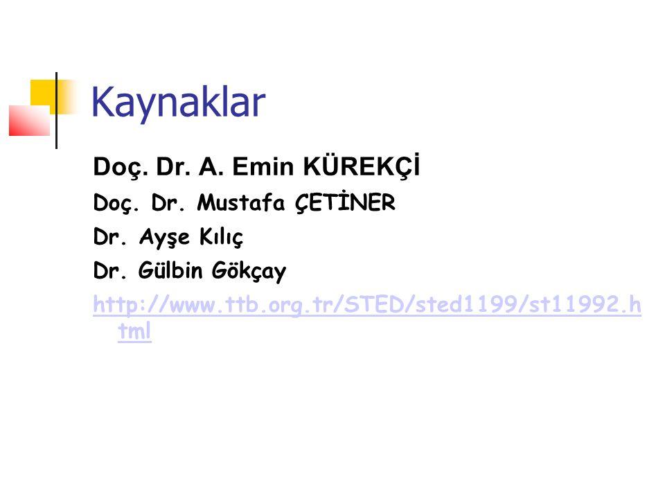 Kaynaklar Doç. Dr. A. Emin KÜREKÇİ Doç. Dr. Mustafa ÇETİNER Dr. Ayşe Kılıç Dr. Gülbin Gökçay http://www.ttb.org.tr/STED/sted1199/st11992.h tml