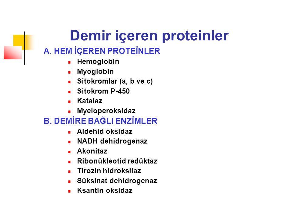 Demir içeren proteinler A. HEM İÇEREN PROTEİNLER Hemoglobin Myoglobin Sitokromlar (a, b ve c) Sitokrom P-450 Katalaz Myeloperoksidaz B. DEMİRE BAĞLI E