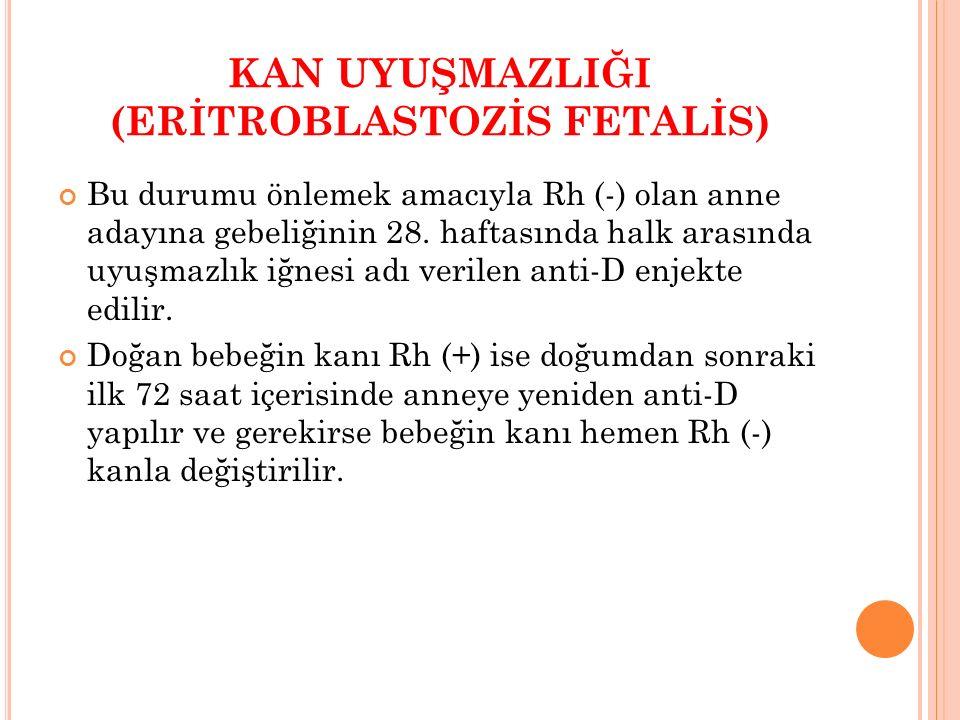 Bu durumu önlemek amacıyla Rh (-) olan anne adayına gebeliğinin 28. haftasında halk arasında uyuşmazlık iğnesi adı verilen anti-D enjekte edilir. Doğa
