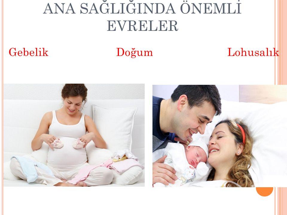 ANA SAĞLIĞINDA ÖNEMLİ EVRELER Gebelik Doğum Lohusalık