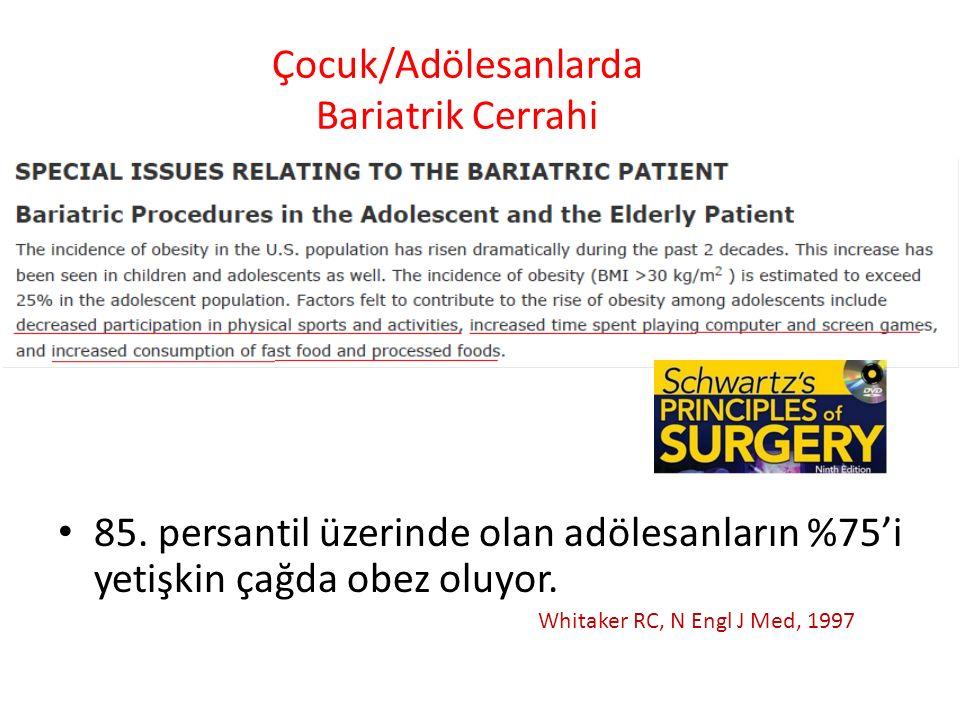 Çocuk/Adölesanlarda Bariatrik Cerrahi 85. persantil üzerinde olan adölesanların %75'i yetişkin çağda obez oluyor. Whitaker RC, N Engl J Med, 1997